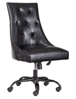BLACK LEATHER HOME OFFICE SWIVEL DESK CHAIR