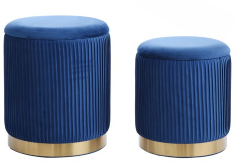 BEECHER OTTOMAN TEAL-SET OF 2