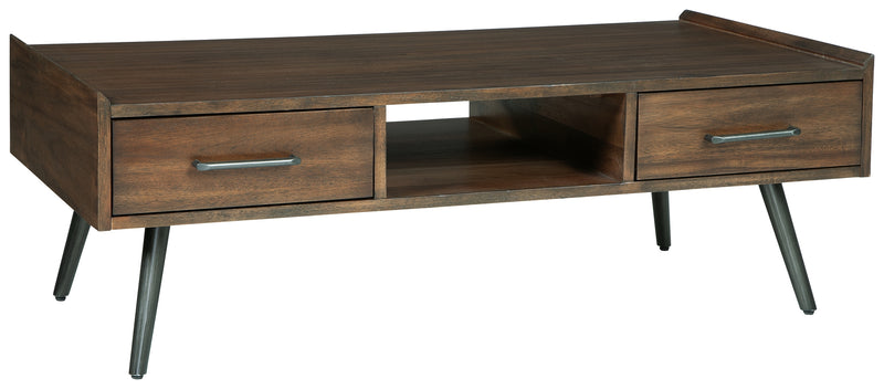 Calmoni Brown Rectangular Coffee Table