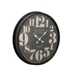 BLACK WALL CLOCK WITH WHITE MARKINGS