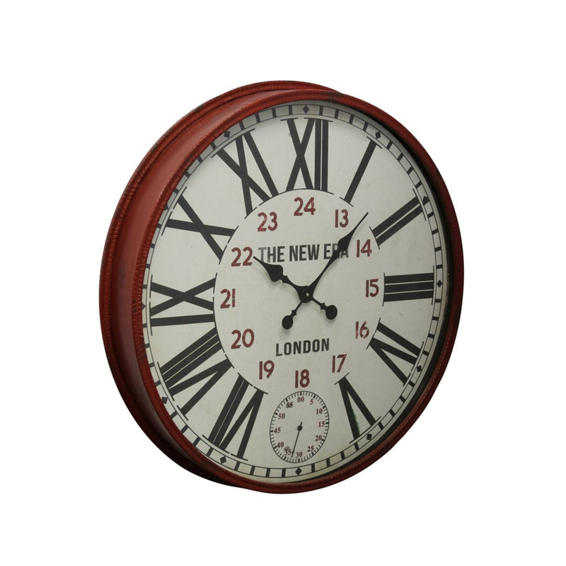 RED CLOCK WITH BLACK ROMAN NUMERALS