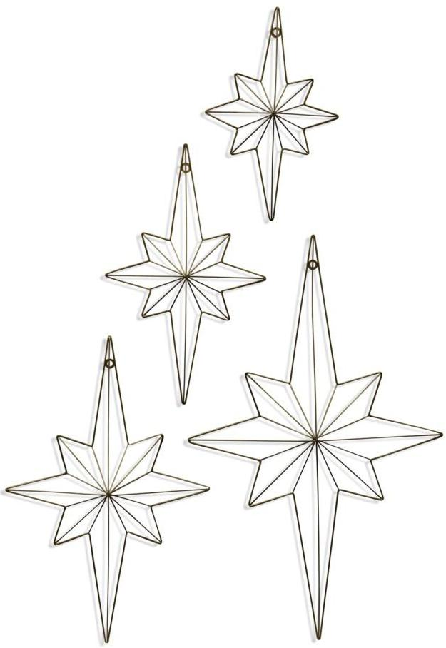 CORNERSTONE HOME INTERIORS - ACCENT - ELONGATED GOLD STARS (SET OF 4)