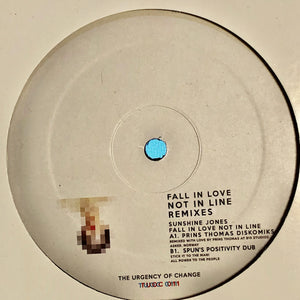 "SUNSHINE JONES - FALL IN LOVE NOT IN LINE REMIXES 12"" (THE URGENCY OF CHANGE)"