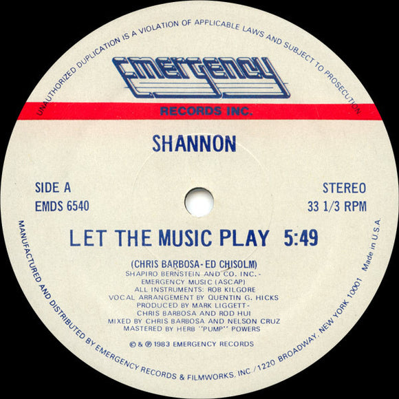 SHANNON - LET THE MUSIC PLAY 12