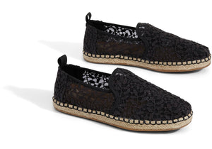 TOMS BLACK LACE LEAVES WOMEN'S DECONSTRUCTED ALPARGATAS