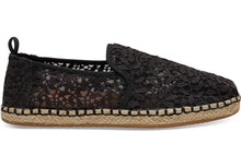 Load image into Gallery viewer, TOMS BLACK LACE LEAVES WOMEN'S DECONSTRUCTED ALPARGATAS