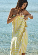 Load image into Gallery viewer, Feather Beach Towel Cycladic Tiles Yellow