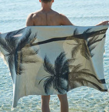 Load image into Gallery viewer, Feather Beach Towel Palm Beach Black