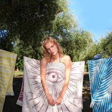 Load image into Gallery viewer, Feather Beach Towel Third Eye Burgundy
