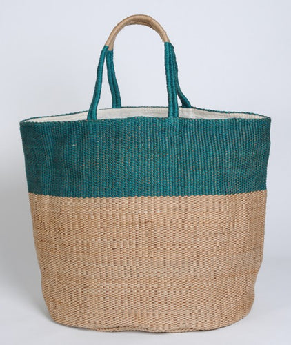 Large Hand Woven Jute Bag Green