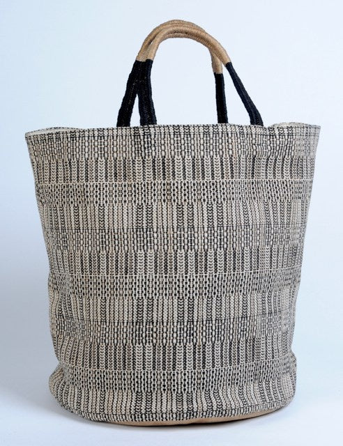 Large Hand Woven Jute Bag Feather Black