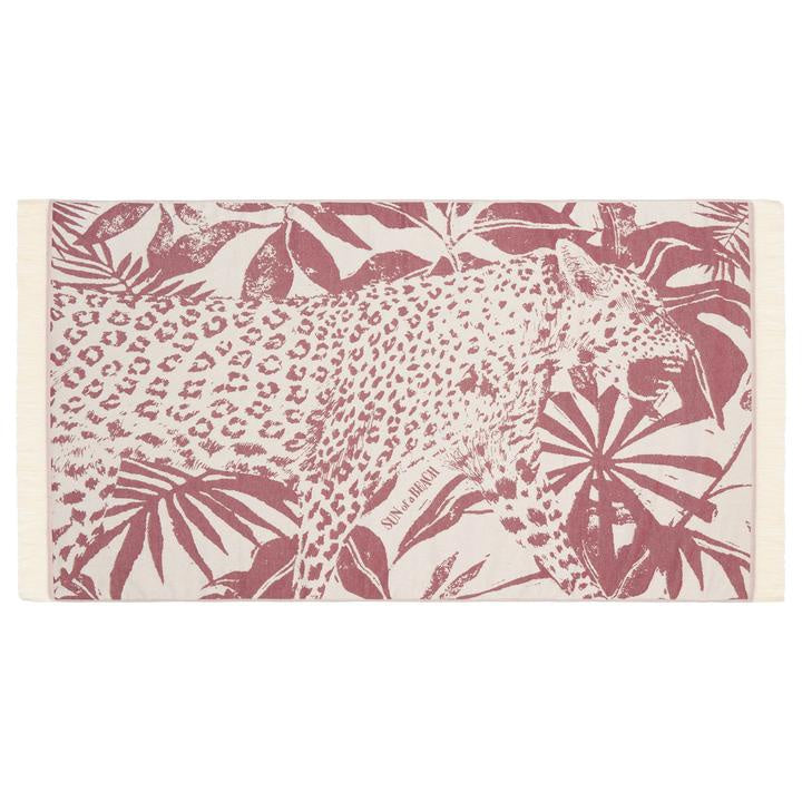 Feather Beach Towel Jungle Leopard Burgundy