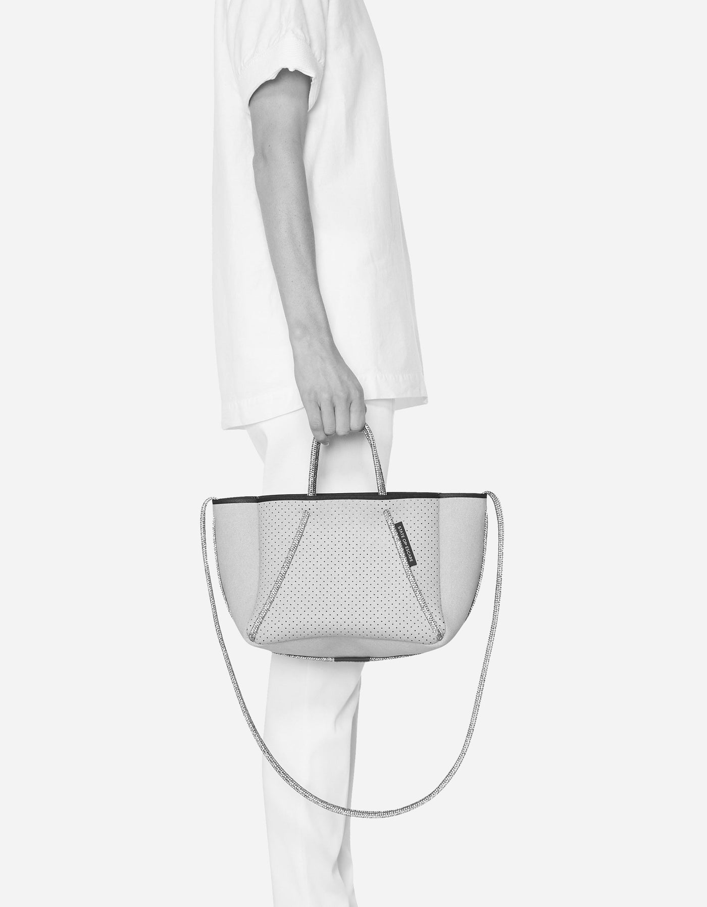 Petite guise tote bag in washed pale grey denim print