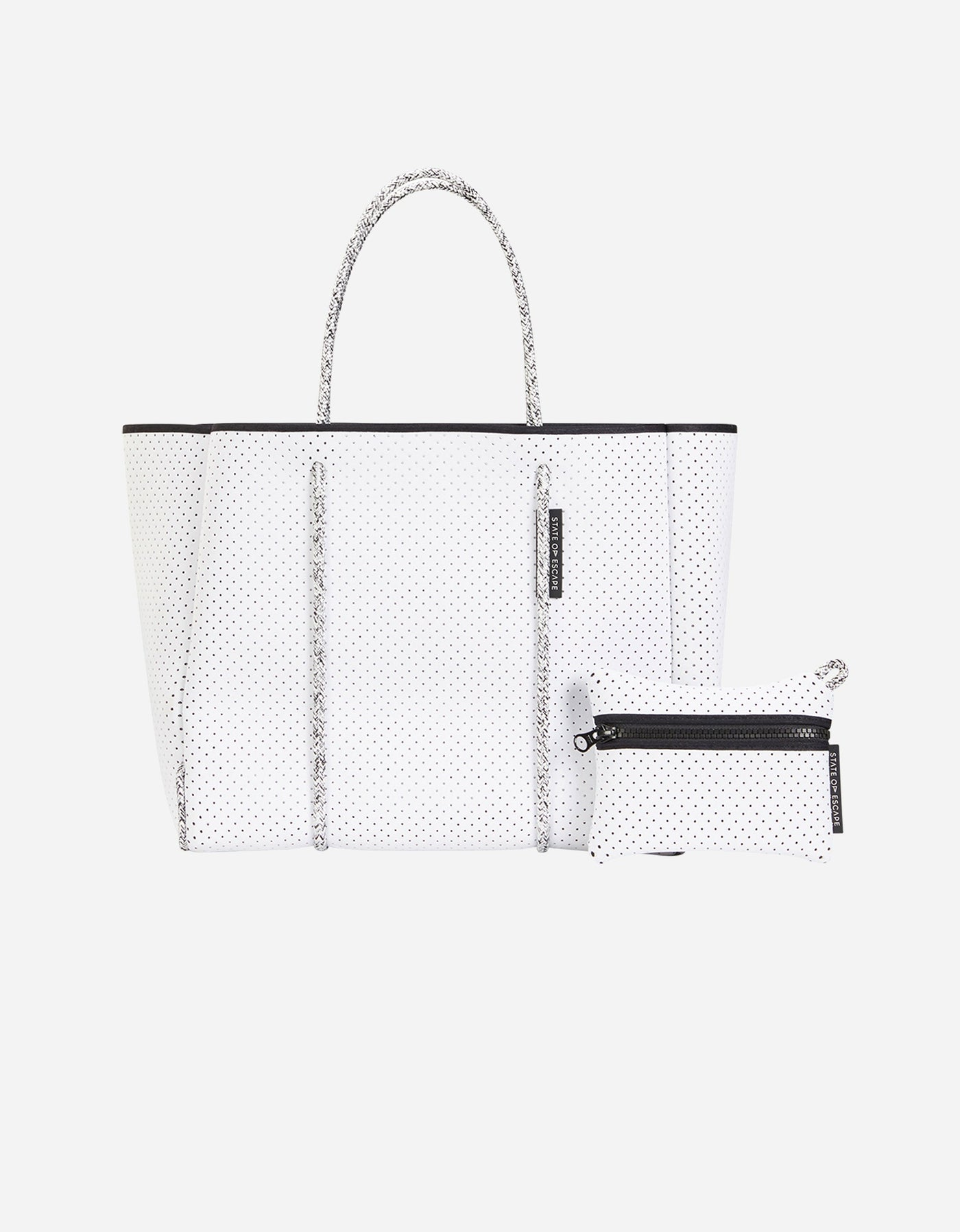 Flying solo tote in white with blended rope