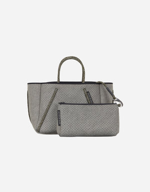 Petite Guise tote bag in washed olive denim print