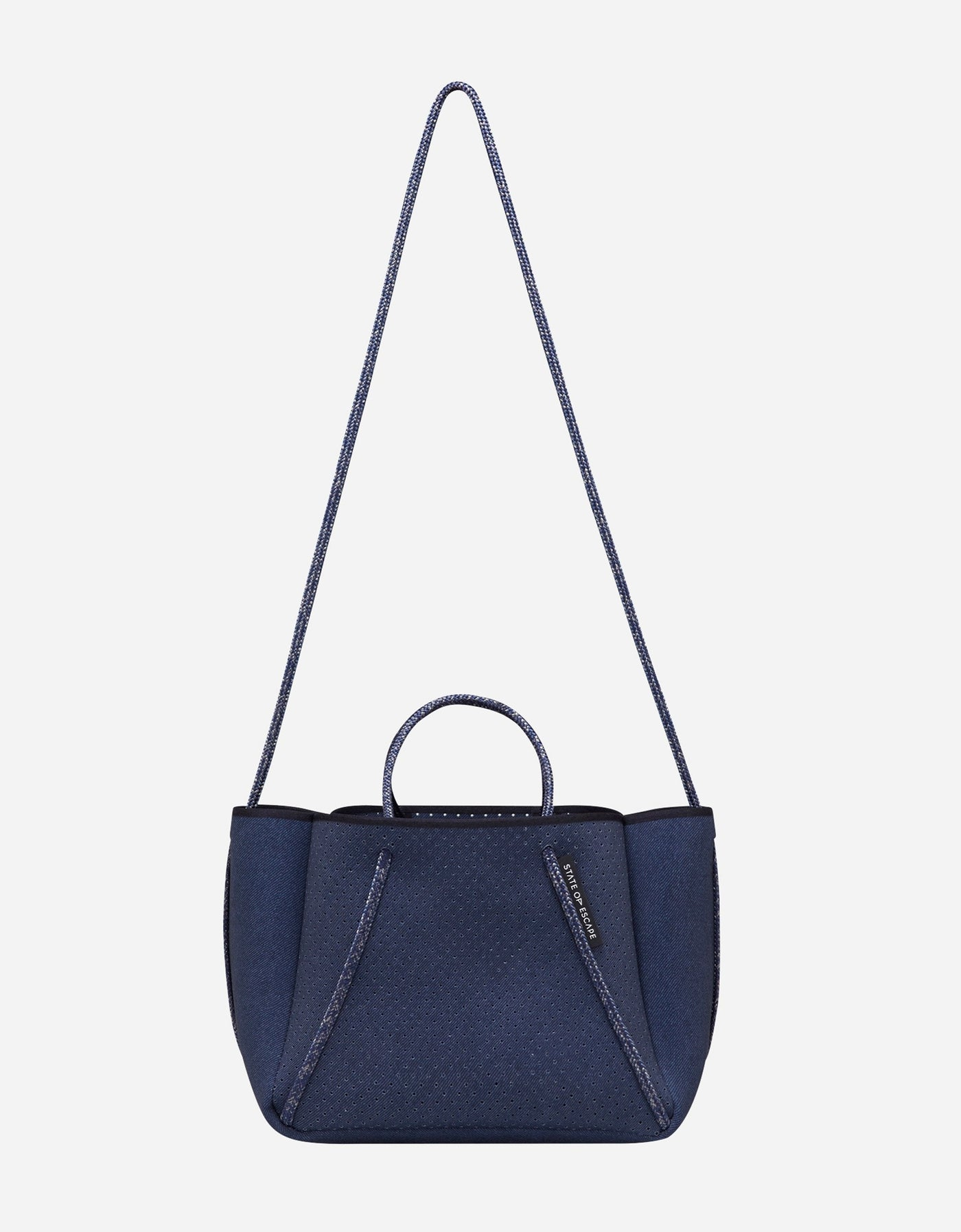 Petite guise neoprene tote bag in dark denim print