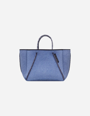 Petite guise neoprene tote bag in fade denim print