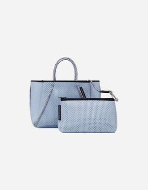 Petite guise neoprene tote bag in super fade denim print