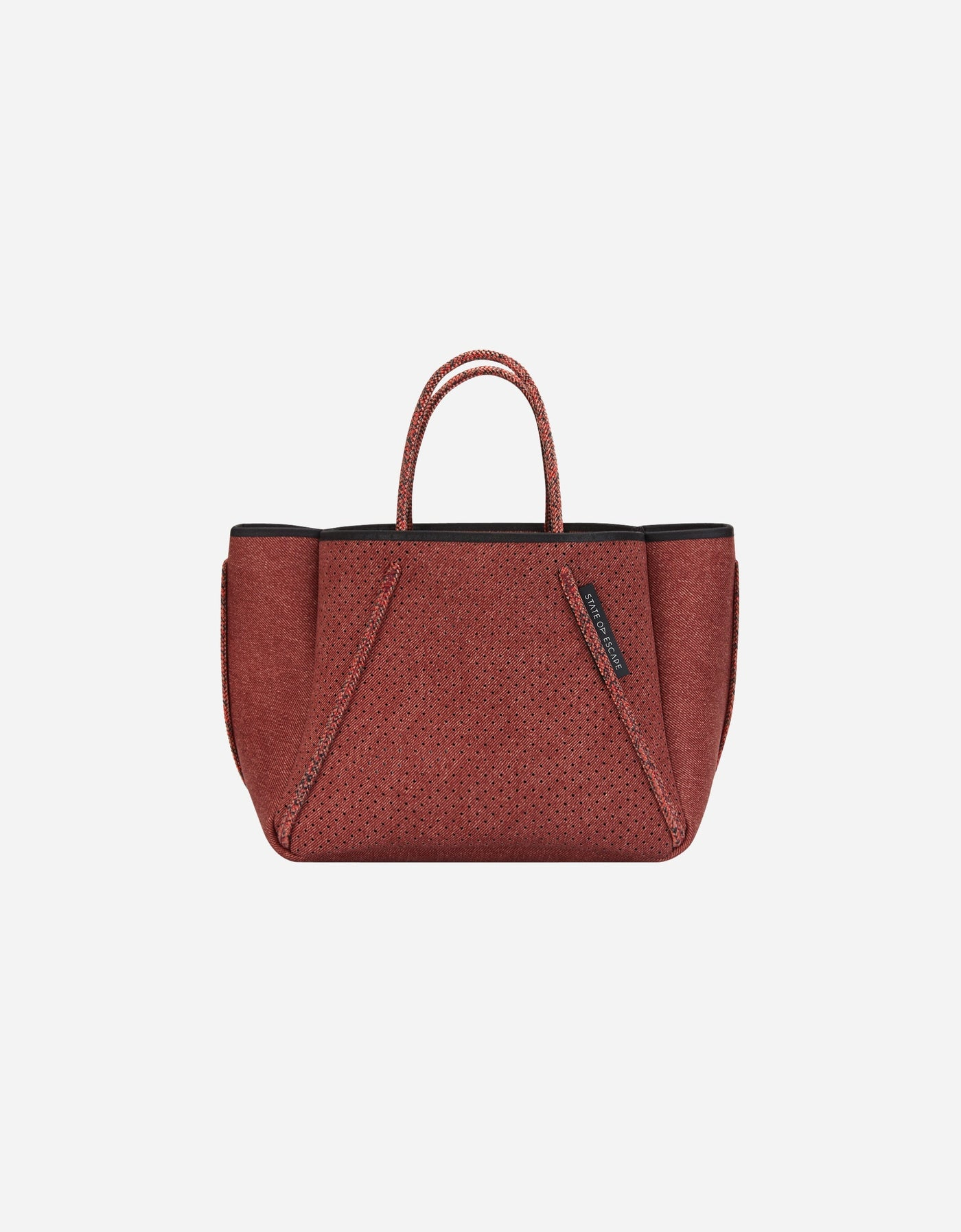 Petite Guise tote bag in washed brick denim print