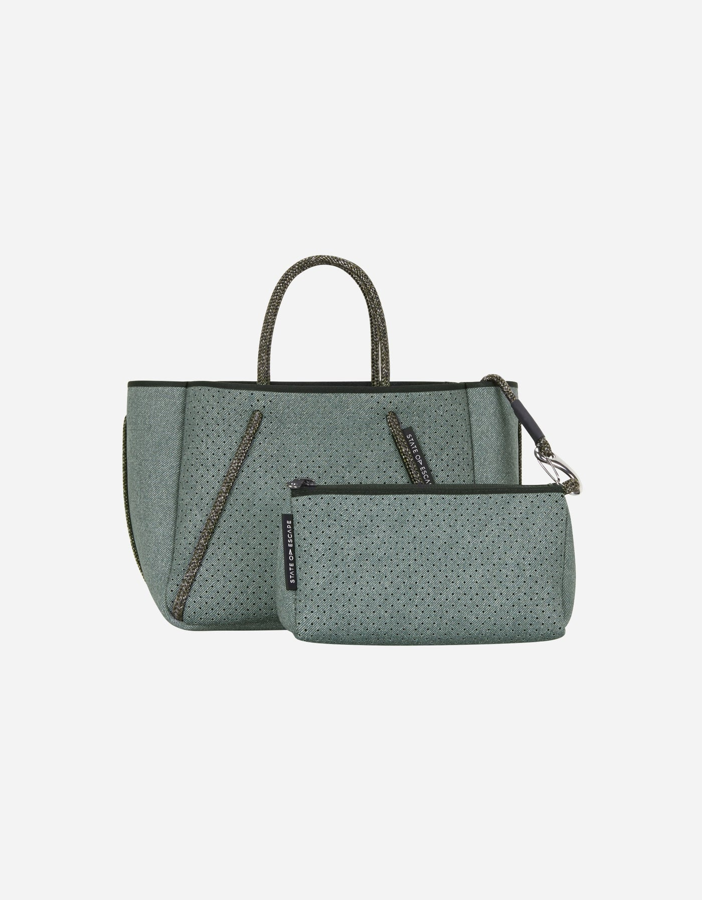 Petite Guise tote bag in washed moss denim print