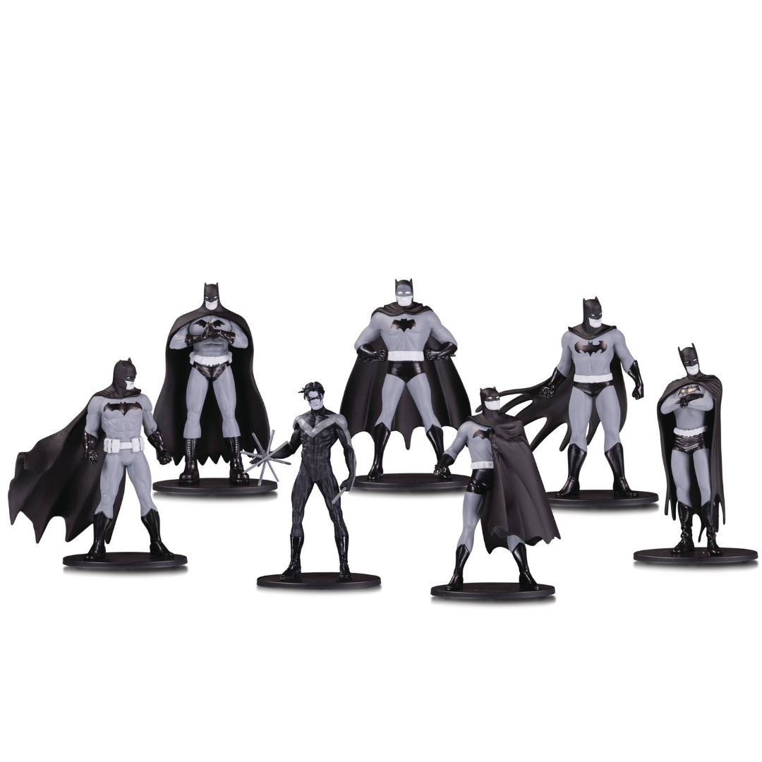 Batman Black and White 7-Pack Mini-Figure Set by DC Collectibles