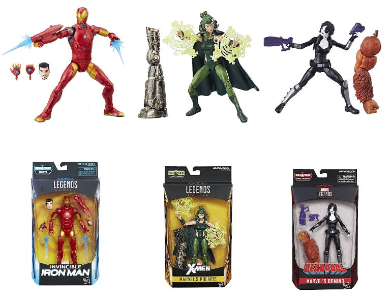 Marvel Legends: Invincible Iron-Man, Polaris, Domino (3 Pack) by Hasbro