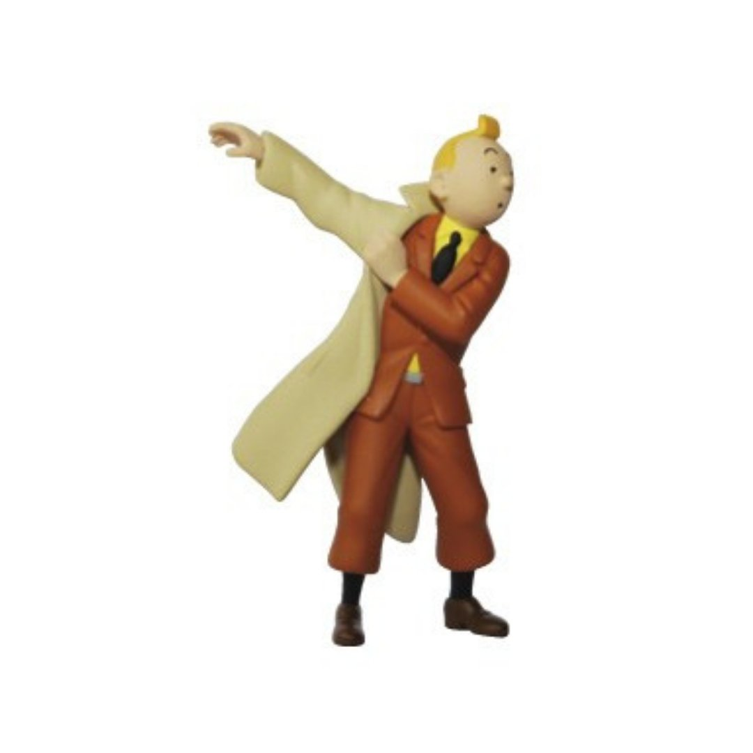 Tintin Putting on his Trench Coat Figure by Moulinsart