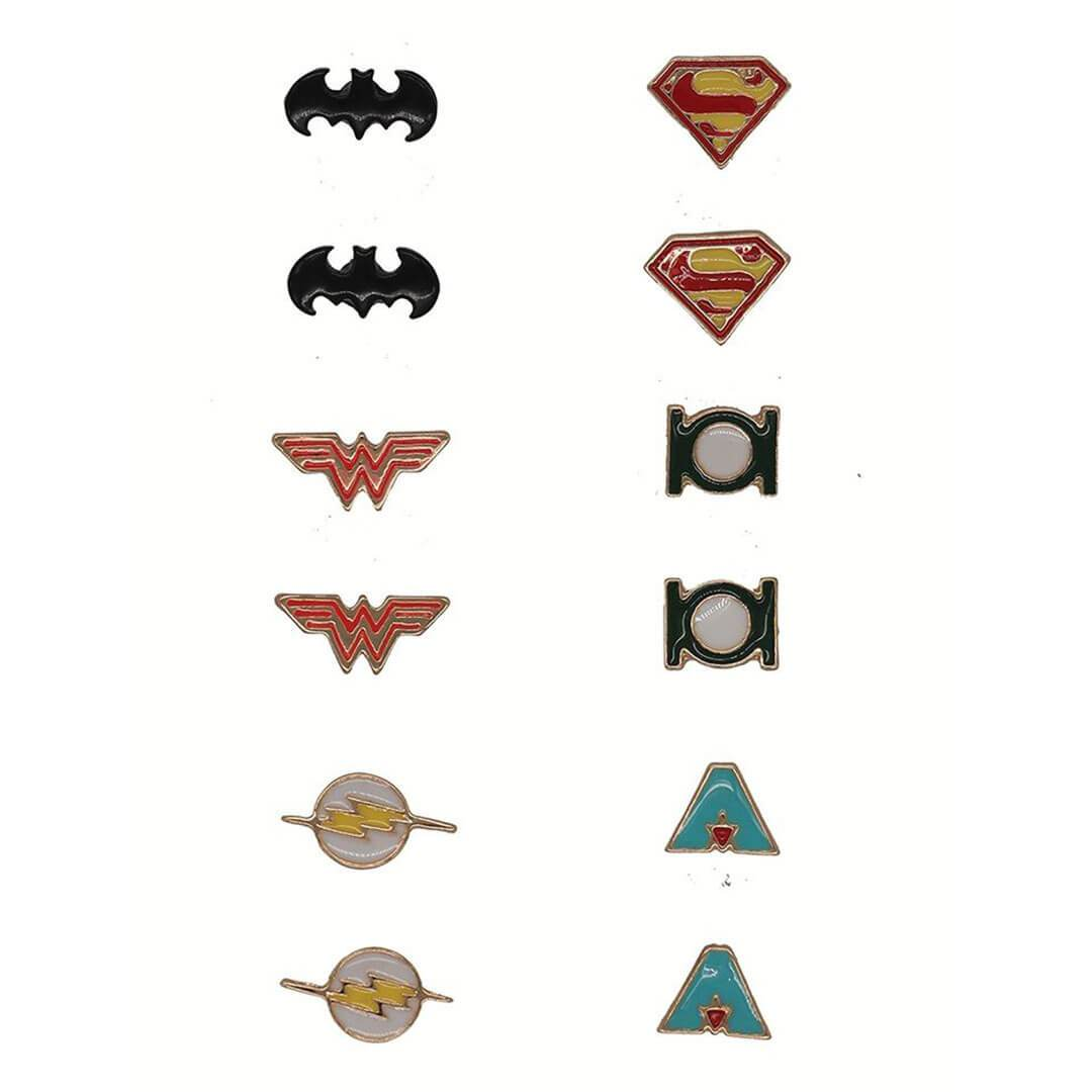 Justice League Earrings (Set of 6) by EFG -EFG - India - www.superherotoystore.com
