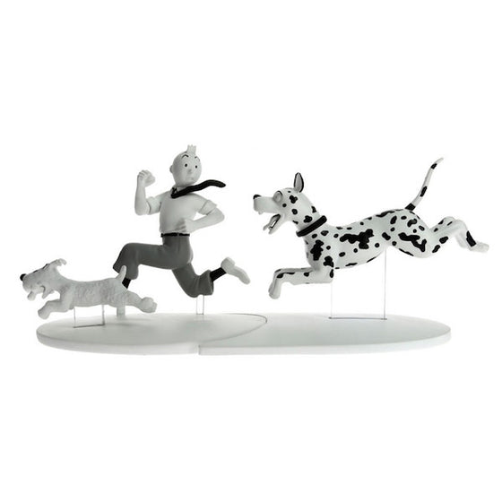 Tintin and Snowy with Great Dane figure by Moulinsart