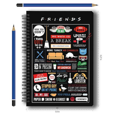 Friends TV Series Infographic Notebook by MC Sidd Razz -MC Sidd Razz - India - www.superherotoystore.com