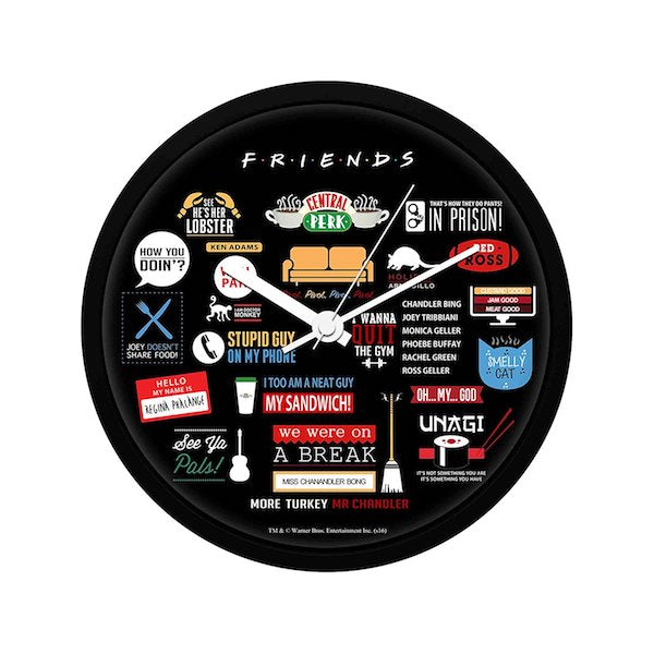 Friends Infographic Wall Clock by MC Sidd Razz -MC Sidd Razz - India - www.superherotoystore.com