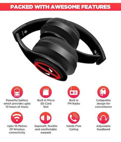 Face Focus Deadpool - Decibel Wireless On Ear Headphones by Macmerise -Macmerise - India - www.superherotoystore.com