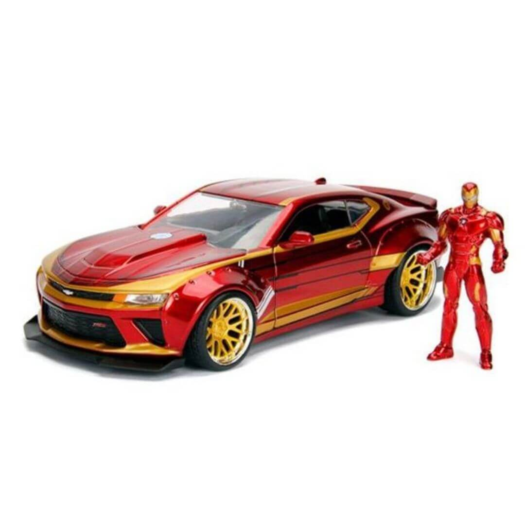 Hollywood Rides 1:24 Scale 2016 Chevy Camaro With Iron Man Figure by Jada Toys -Jada Toys - India - www.superherotoystore.com