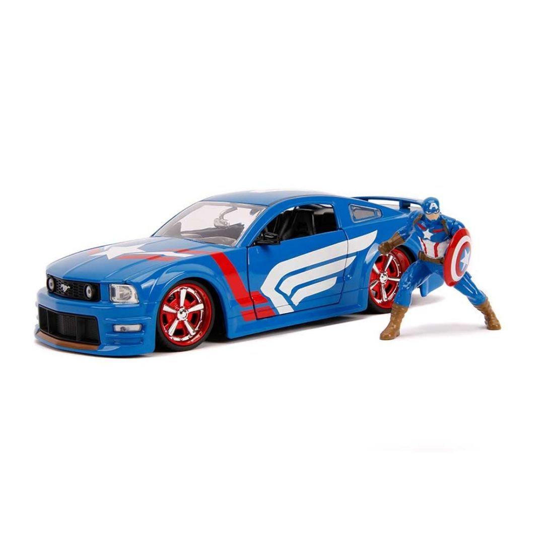 Hollywood Rides 1:24 Scale 2006 Ford Mustang With Captain America Figure by Jada Toys -Jada Toys - India - www.superherotoystore.com
