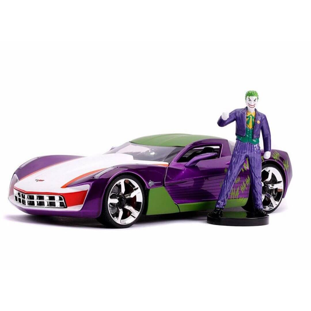 Hollywood Rides 1:24 Scale 2009 Chevy Corvette Stingray Concept car With Joker Figure by Jada Toys -Jada Toys - India - www.superherotoystore.com