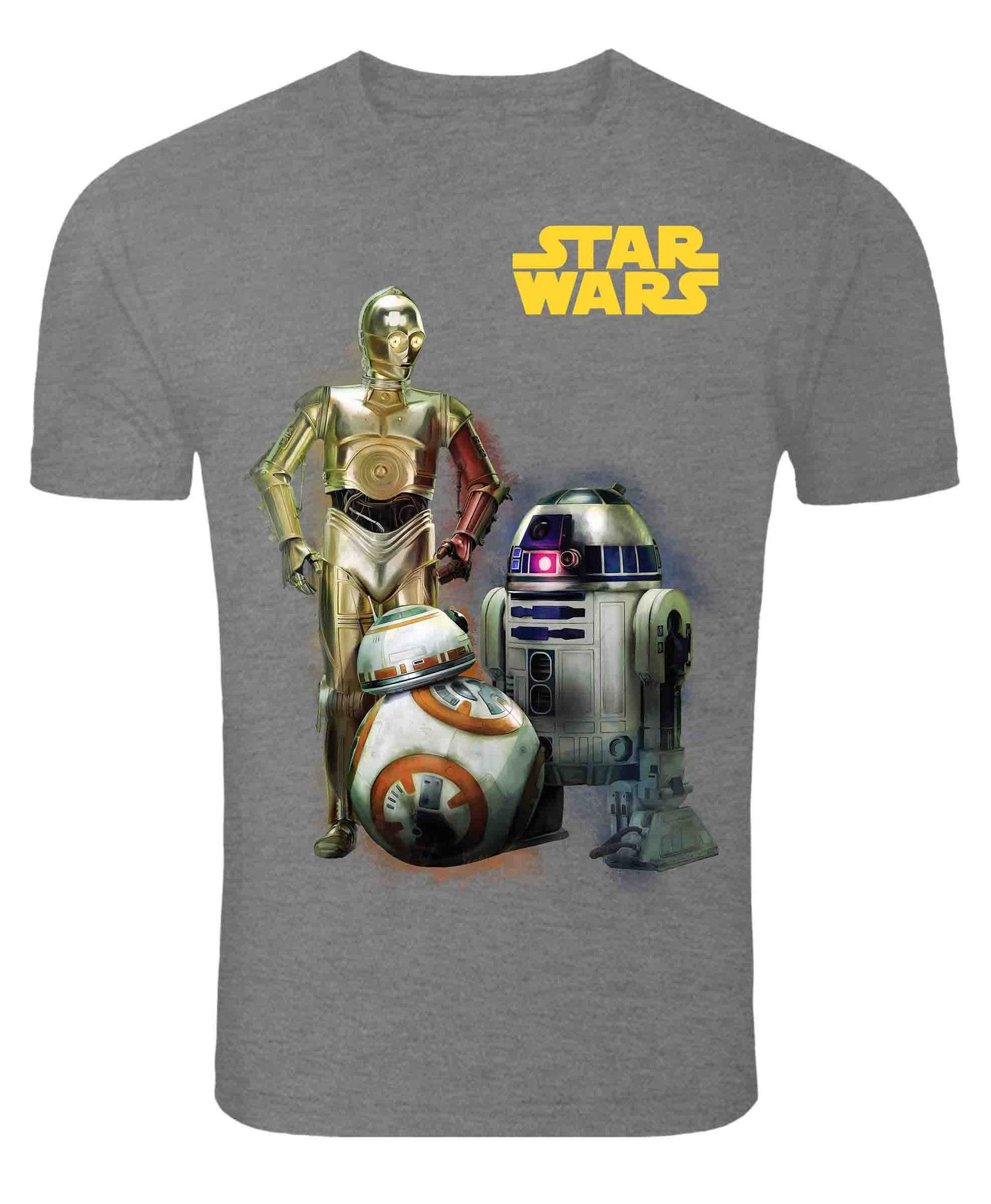 Star Wars Droids Without Grunge Effect Grey Melange T-Shirt-Frog- www.superherotoystore.com-T-Shirt