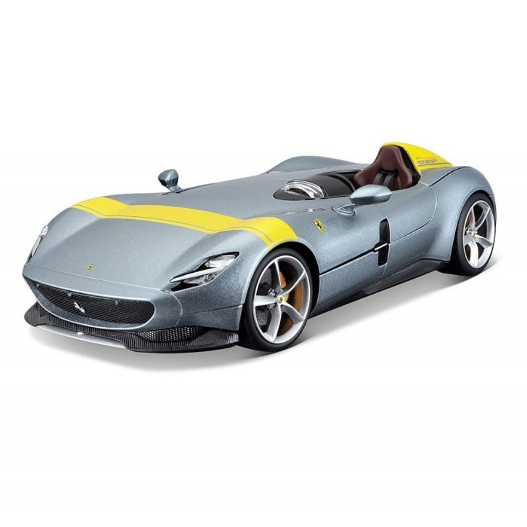 1:18 Scale Silver Yellow Ferrari Monza SP1 Die-Cast Car by Bburago -Bburago - India - www.superherotoystore.com