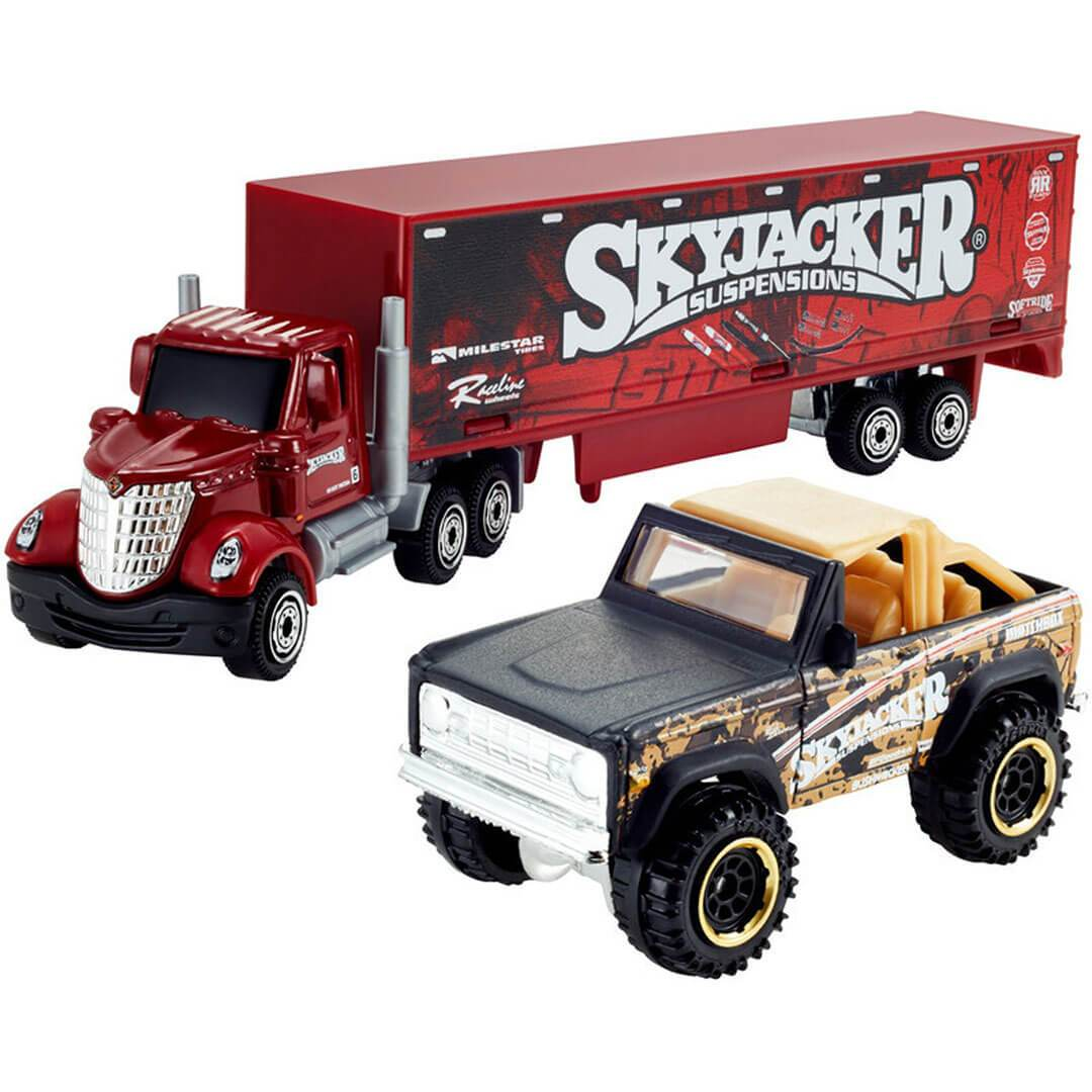 Longstar Cab & Box Trailer With 1972 Ford Bronco 4X4 1:64 Scale Die-Cast Convoy by Matchbox -Matchbox - India - www.superherotoystore.com