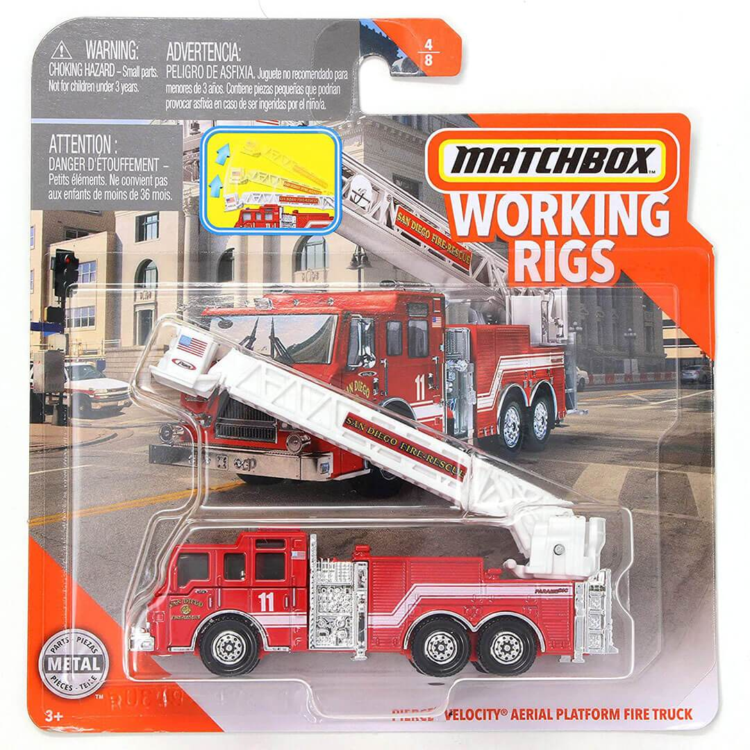 Working Rigs Pierce Velocity Aerial Platform Fire Truck by Matchbox -Matchbox - India - www.superherotoystore.com