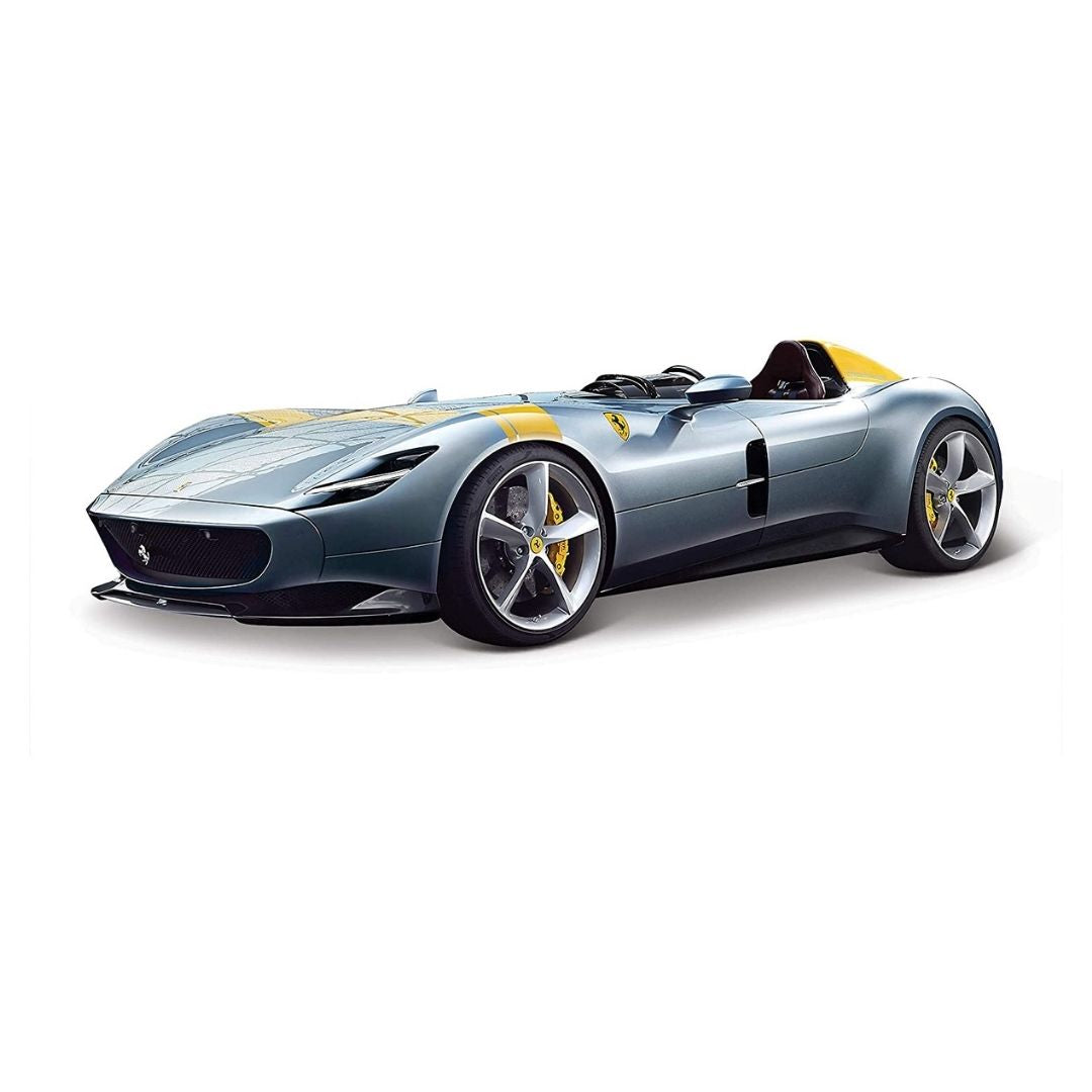1:24 Silver Yellow Ferrari Scale Monza SP1 Die-Cast Car by Bburago -Bburago - India - www.superherotoystore.com