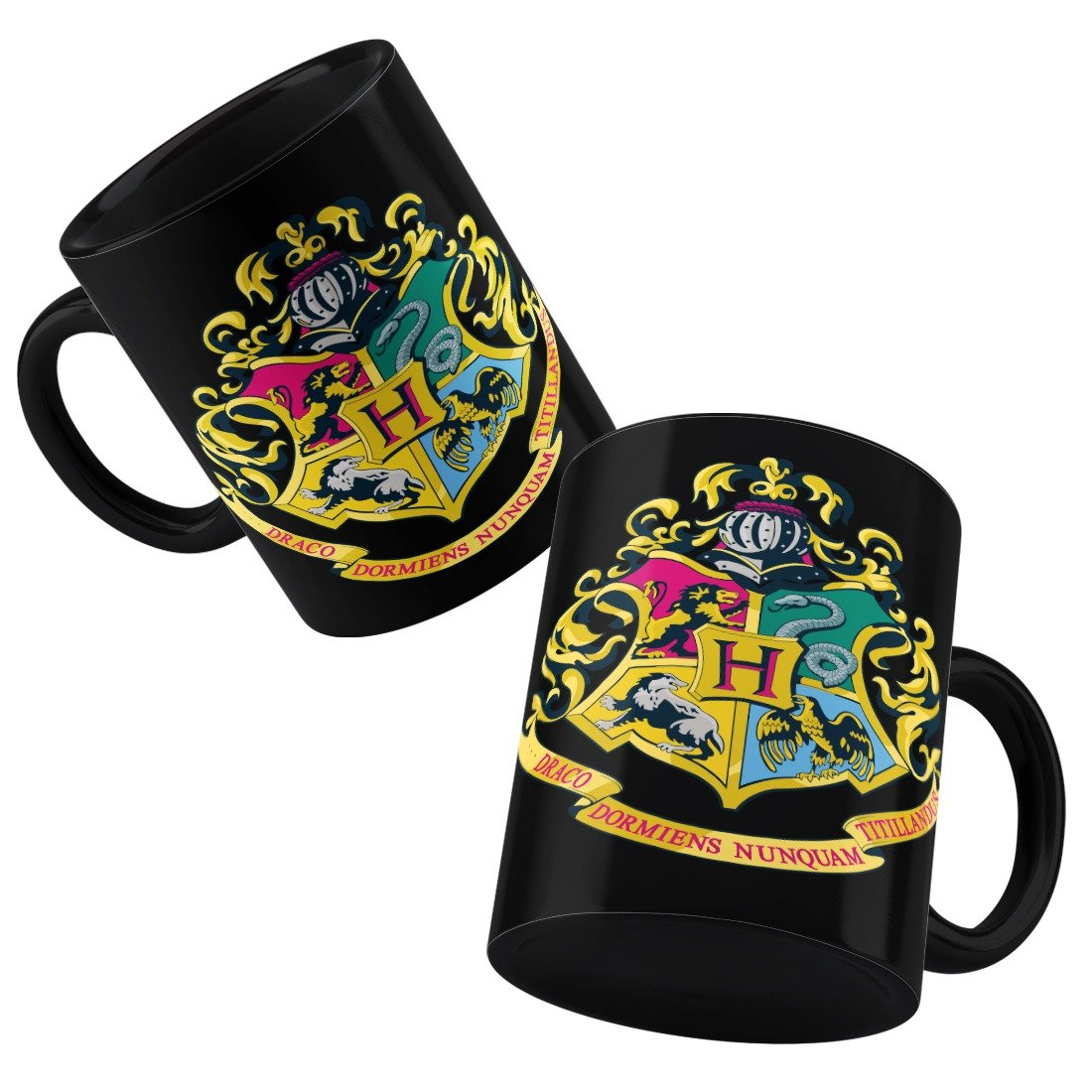 Harry Potter Hogwards Crest Black Mug -Happy Giftmart - India - www.superherotoystore.com