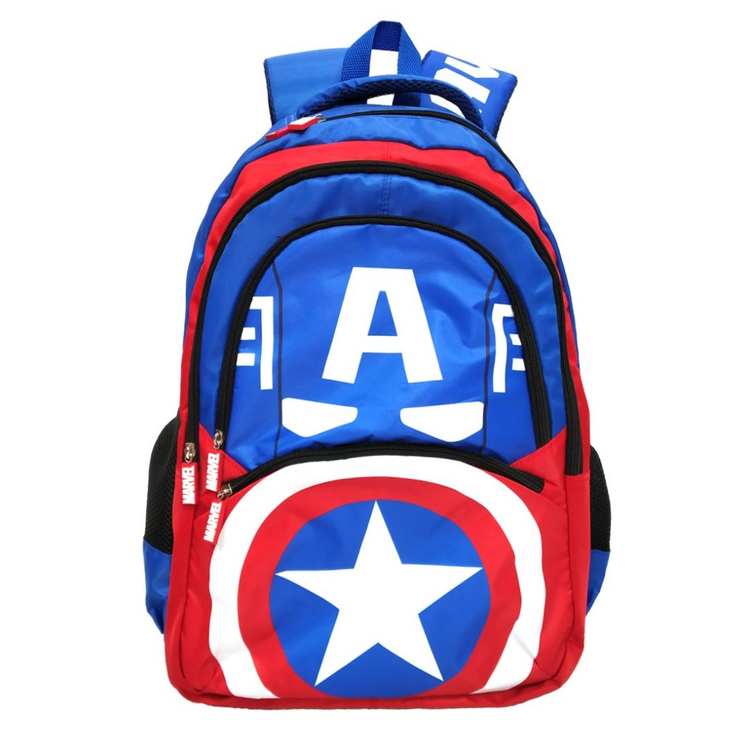 Captain America Face Blue Backpack -My Baby Excels - India - www.superherotoystore.com