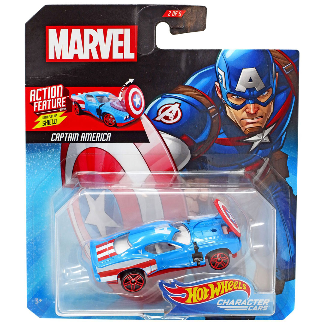 Marvel Character Cars: Captain America 1:64 Scale Die-Cast Car by Hot Wheels