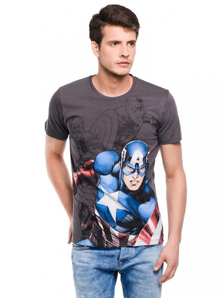 Captain America Dark Grey Half Sleeve T-Shirt by Bio World-Bio World- www.superherotoystore.com-T-Shirt - 1
