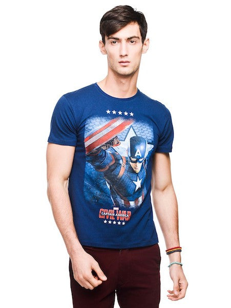 Civil War Capt America Dress Blue Half Sleeve T-Shirt by Bio World-Bio World- www.superherotoystore.com-T-Shirt - 1