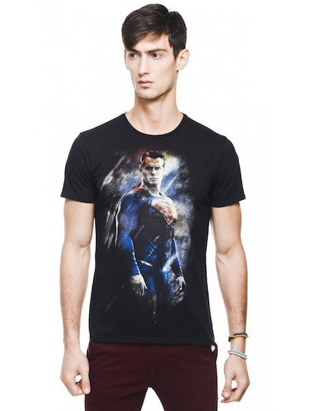 DOJ Superman Black Colour Half Sleeve T-Shirt by Bio World-Bio World- www.superherotoystore.com-T-Shirt - 1