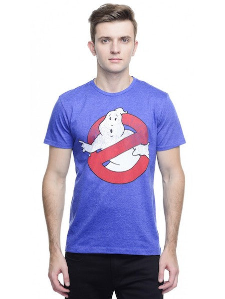 Ghostbusters Royal Blue Melange Crew Neck Half Sleeve T-Shirt by Bio World -Bio World - India - www.superherotoystore.com