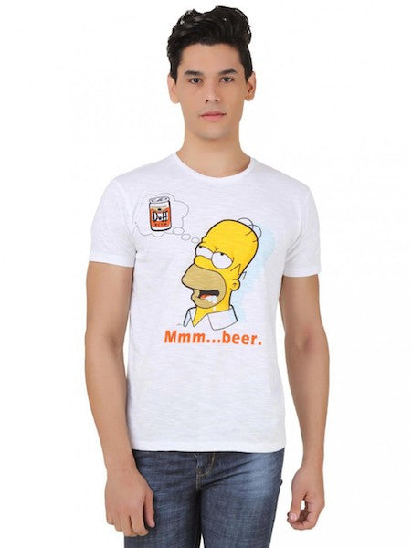 Homer Simpsons White Half Sleeve T-Shirt by Bio World-Bio World- www.superherotoystore.com-T-Shirt - 1