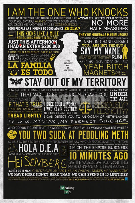 Breaking Bad Typographic by Pyramid-Superherotoystore.com- www.superherotoystore.com-Posters