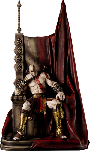 God of War - Kratos on Throne-Gaming Heads- www.superherotoystore.com-Statue - 1